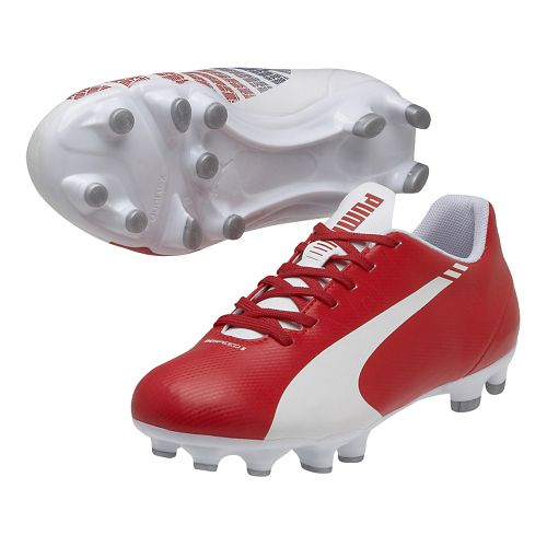 Kids Puma EvoSpeed 5.3 FG Jr. Track and Field Shoe - White/High Risk Red 5.5 ...