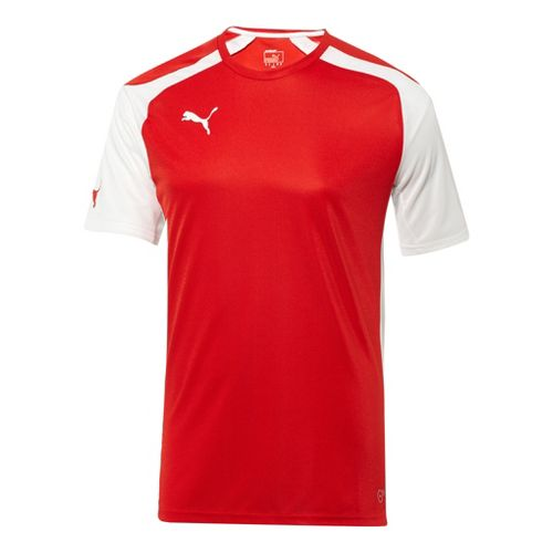 Mens Puma Speed Jersey Short Sleeve Technical Tops - Red/White M