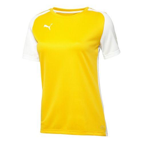 Womens Puma Speed Shirt Short Sleeve Technical Tops - Team Yellow/White XXS