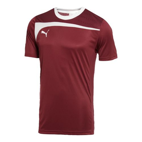 Mens Puma Pulse Jersey Short Sleeve Technical Tops - Team Burgundy/White S