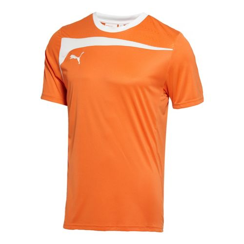 Mens Puma Pulse Jersey Short Sleeve Technical Tops - Team Orange/White XL