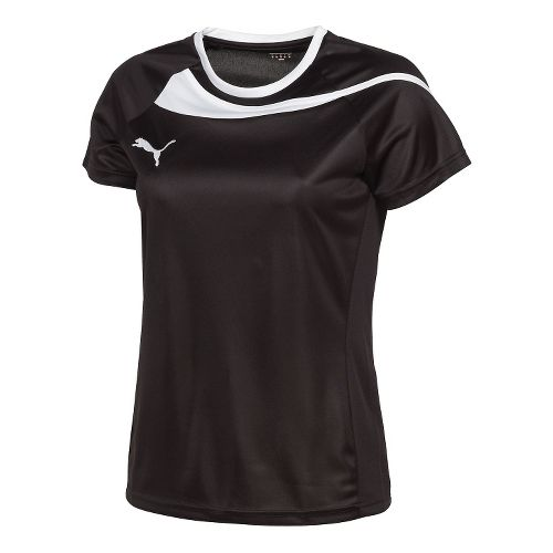 Womens Puma Pulse Jersey Short Sleeve Technical Tops - Black/White L