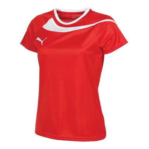 Womens Puma Pulse Jersey Short Sleeve Technical Tops - Red/White XS