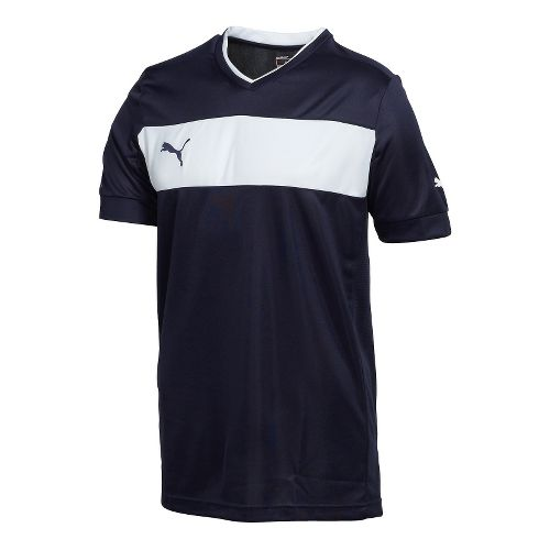 Mens Puma PowerCat 3.12 Shirt Short Sleeve Technical Tops - New Navy/White S
