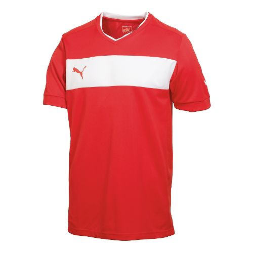 Mens Puma PowerCat 3.12 Shirt Short Sleeve Technical Tops - Red/White XL