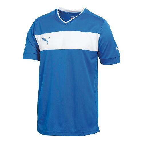 Mens Puma PowerCat 3.12 Shirt Short Sleeve Technical Tops - Royal/White S