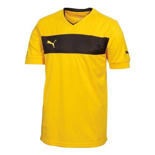Mens Puma PowerCat 3.12 Shirt Short Sleeve Technical Tops - Team Yellow/Black XL