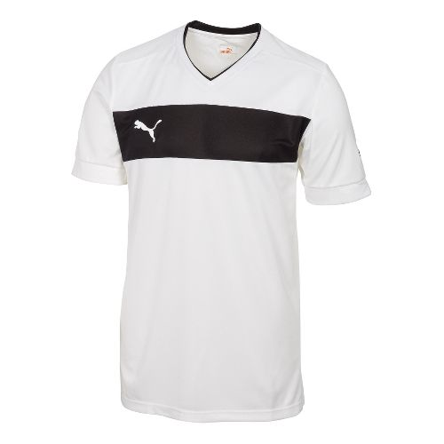 Mens Puma PowerCat 3.12 Shirt Short Sleeve Technical Tops - White/Black XL