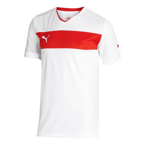 Mens Puma PowerCat 3.12 Shirt Short Sleeve Technical Tops - White/Red XL