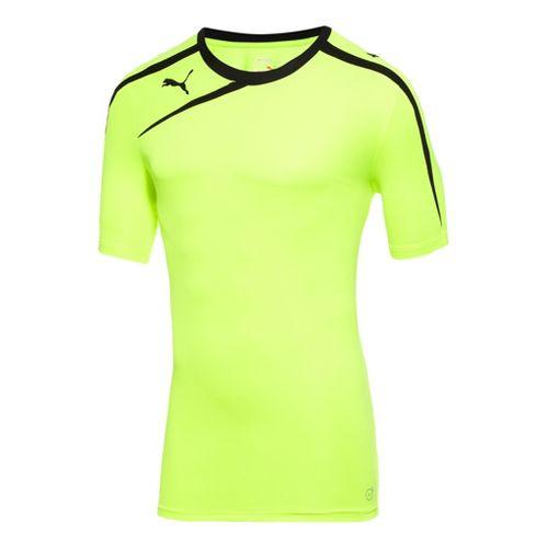 Mens Puma Spirit Shirt Short Sleeve Technical Tops - Flou Yellow/Black XL