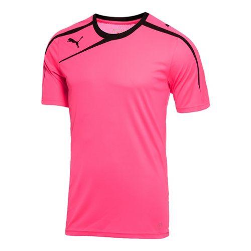 Mens Puma Spirit Shirt Short Sleeve Technical Tops - Flou Pink/Black M