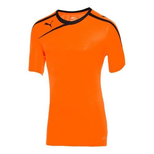 Mens Puma Spirit Shirt Short Sleeve Technical Tops - Flou Orange/Black M