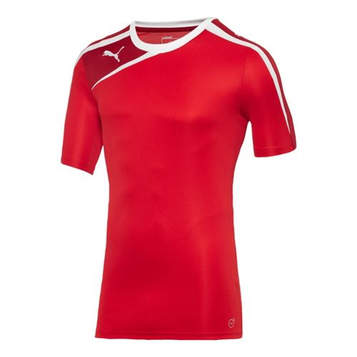 Mens Puma Spirit Shirt Short Sleeve Technical Tops - Red/Chili Pepper L