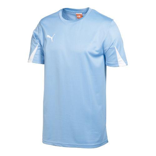 Mens Puma Team Shirt Short Sleeve Technical Tops - Pearl Blue/White L