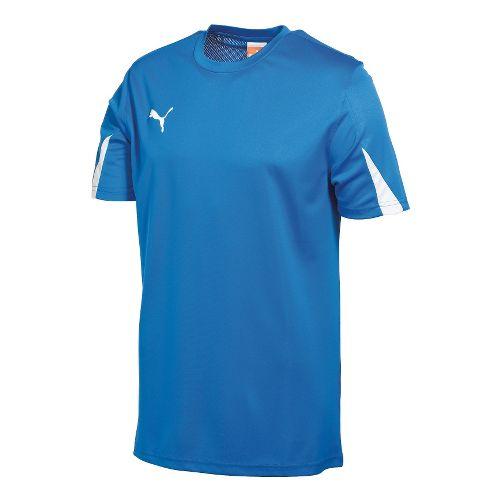 Mens Puma Team Shirt Short Sleeve Technical Tops - Royal/White XL
