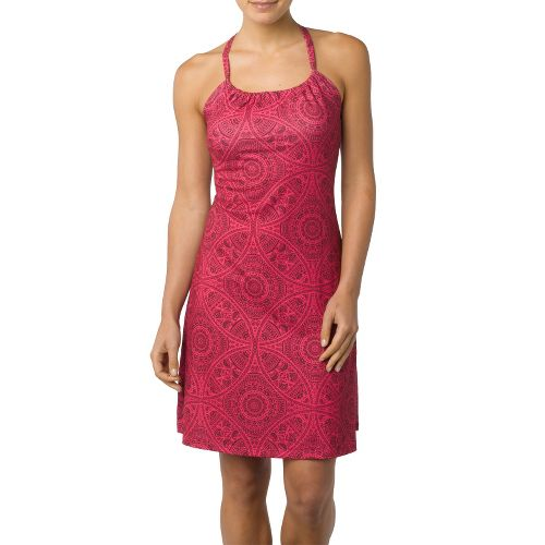 Womens Prana Quinn Dress Skirt Fitness Skirts - Fuschia/Print L