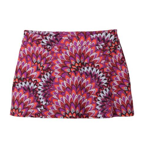 Womens Prana Sugar Printed Mini Skirt Skort Fitness Skirts - Poppy/Print S