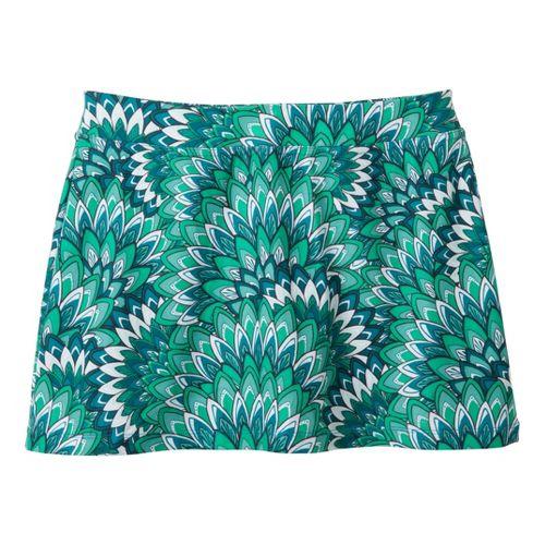 Womens Prana Sugar Printed Mini Skirt Skort Fitness Skirts - Turquoise/Print S