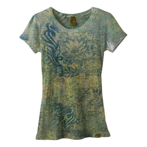 Womens Prana Lotus Top Short Sleeve Non-Technical Tops - Emerald Green S