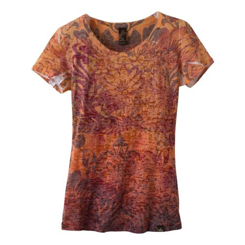Womens Prana Lotus Top Short Sleeve Non-Technical Tops - Orange Flame L