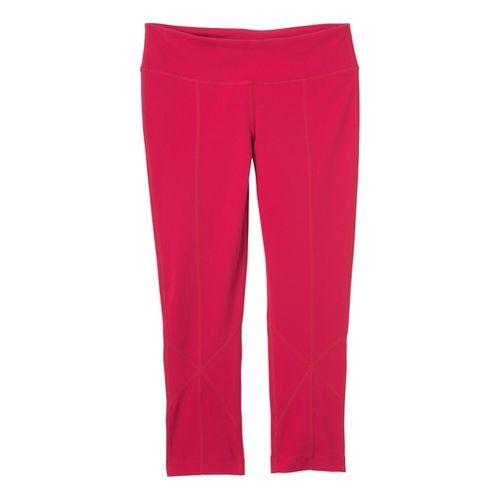 Womens Prana Prism Legging Capri Tights - Scarlet S