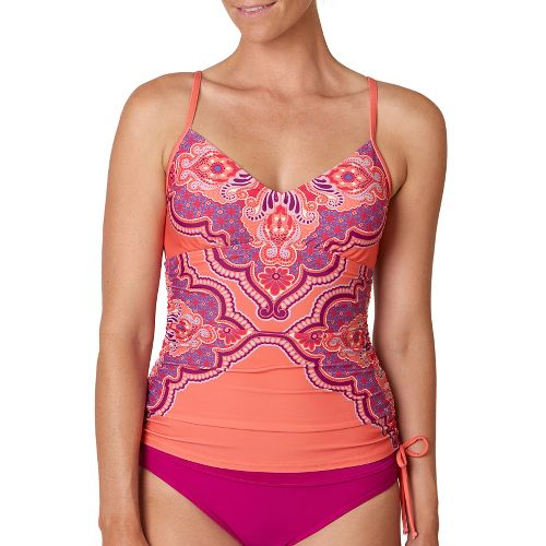 Womens Prana Moorea Tankini Top Swimming Swim - Neon Orange Jasmine S