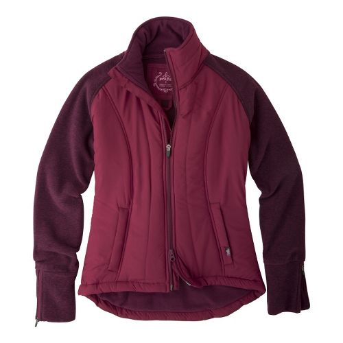 Womens Prana Audrina Warm-Up Unhooded Jackets - Pomegranate L