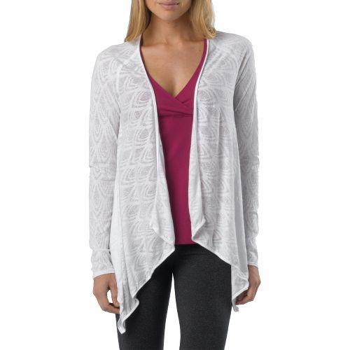 Womens Prana Julz Burnout Wrap Warm-Up Unhooded Jackets - White M