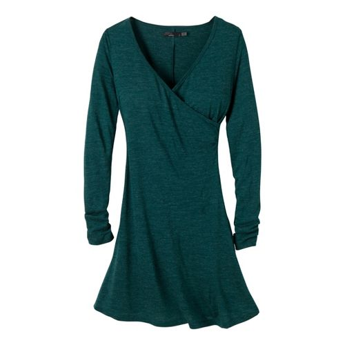 Womens Prana Nadia Long Sleeve Dress Fitness Skirts - Deep Teal M