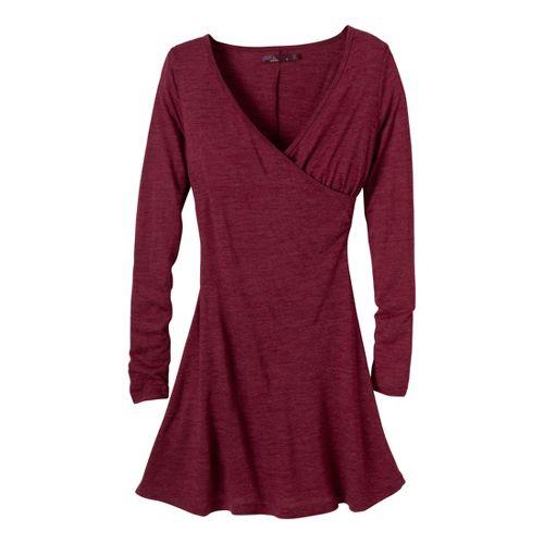 Womens Prana Nadia Long Sleeve Dress Fitness Skirts - Plum Red L