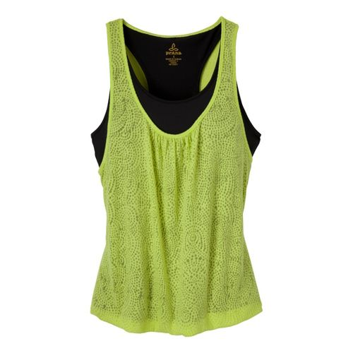 Womens Prana Mika Tanks Technical Tops - Lime/Black XL