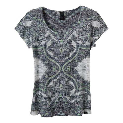 Womens Prana Reflect Short Sleeve Technical Tops - Black/Print M