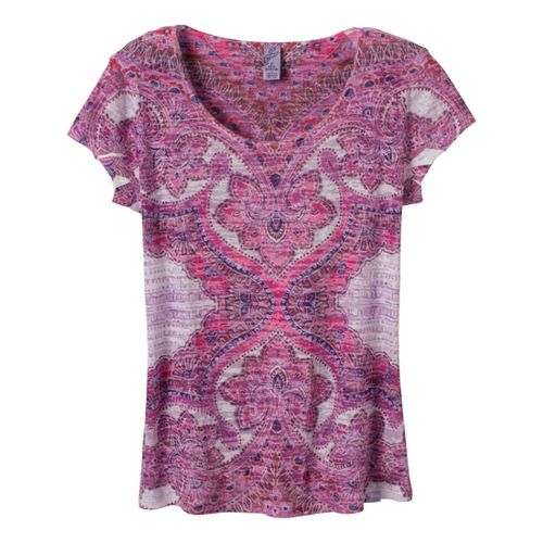 Womens Prana Reflect Short Sleeve Technical Tops - Raspberry/Print XL