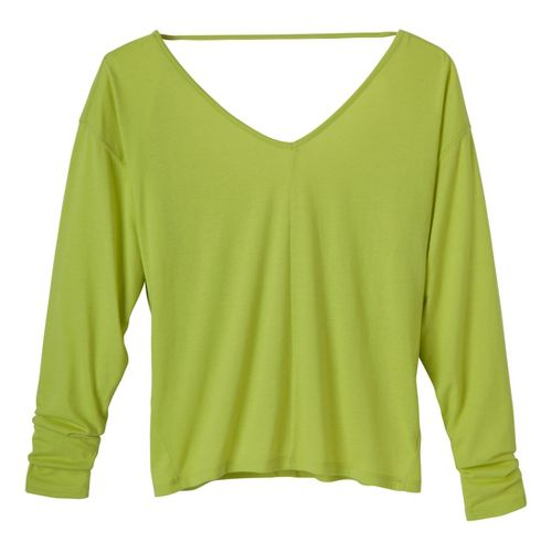 Womens Prana Bianca Long Sleeve No Zip Technical Tops - Lime XS