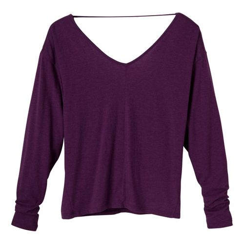 Womens Prana Bianca Long Sleeve No Zip Technical Tops - Red/Violet L