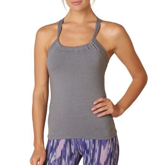 Womens Prana Quinn Chakara Sport Tops Bras - Heather Grey S