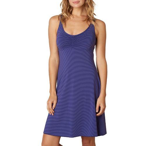 Womens Prana Rebecca Dress Dresses - Indigo Pinstripe M
