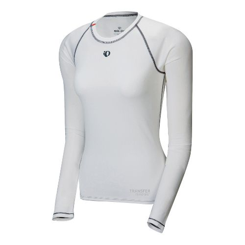 Womens Pearl Izumi Transfer Long Sleeve Baselayer No Zip Technical Tops - White S