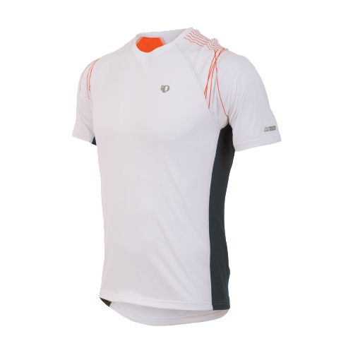 Mens Pearl Izumi Infinity In-R-Cool SS Short Sleeve Technical Tops - White/Cherry Tomato S