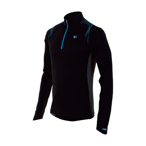 Mens Pearl Izumi Infinity In-R-Cool LS Long Sleeve 1/2 Zip Technical Tops - Black/Electric Blue ...