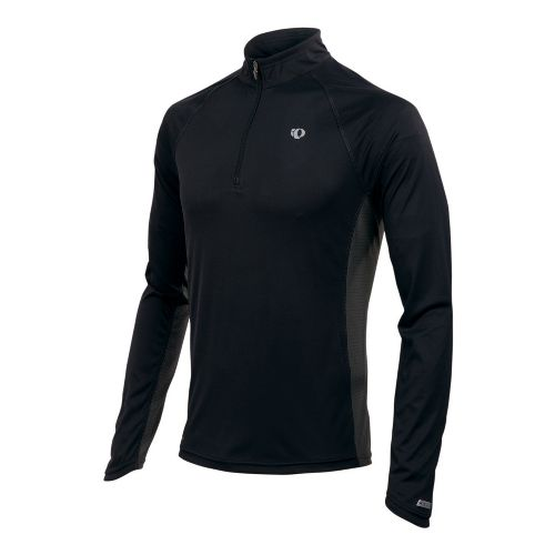 Mens Pearl Izumi Infinity In-R-Cool LS Long Sleeve 1/2 Zip Technical Tops - Black/Shadow Grey ...
