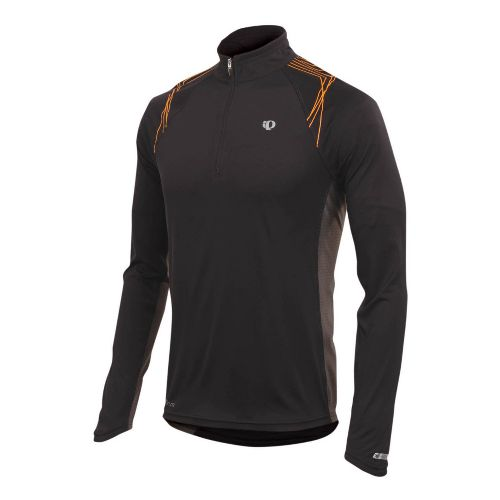 Mens Pearl Izumi Infinity In-R-Cool LS Long Sleeve 1/2 Zip Technical Tops - Black/Safety Orange ...