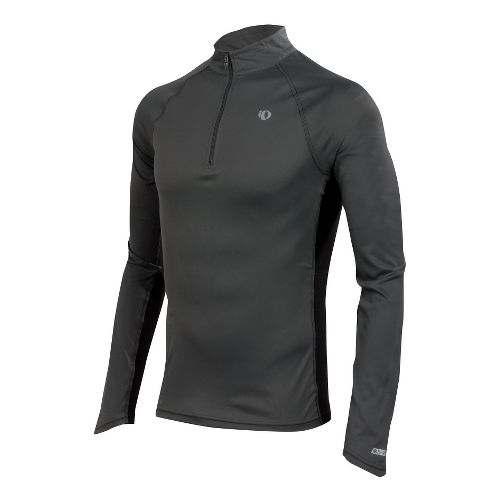 Mens Pearl Izumi Infinity In-R-Cool LS Long Sleeve 1/2 Zip Technical Tops - Shadow Grey/Green ...