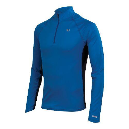 Mens Pearl Izumi Infinity In-R-Cool LS Long Sleeve 1/2 Zip Technical Tops - True Blue/Black ...