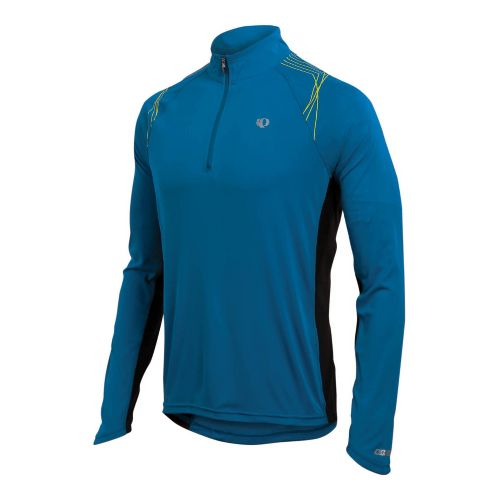 Mens Pearl Izumi Infinity In-R-Cool LS Long Sleeve 1/2 Zip Technical Tops - True Blue/Lime ...