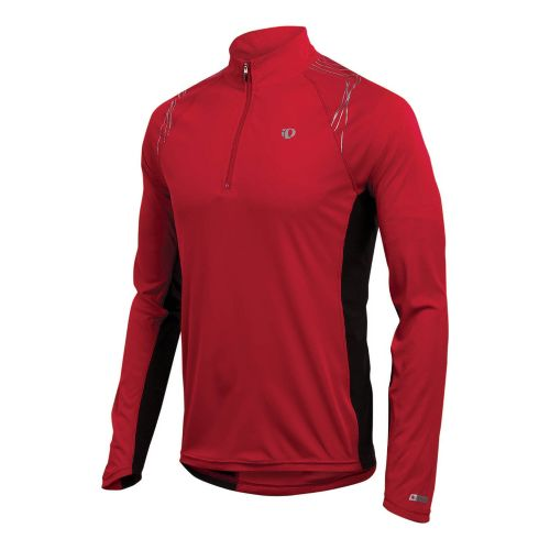 Mens Pearl Izumi Infinity In-R-Cool LS Long Sleeve 1/2 Zip Technical Tops - True Red ...