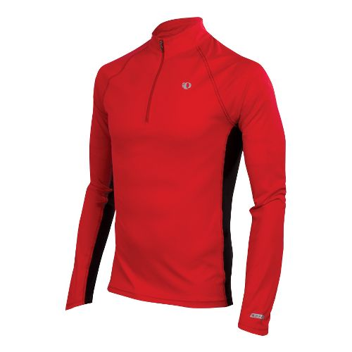 Mens Pearl Izumi Infinity In-R-Cool LS Long Sleeve 1/2 Zip Technical Tops - True Red/Black ...