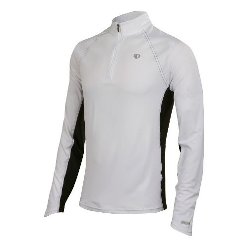 Mens Pearl Izumi Infinity In-R-Cool LS Long Sleeve 1/2 Zip Technical Tops - White/Black L ...