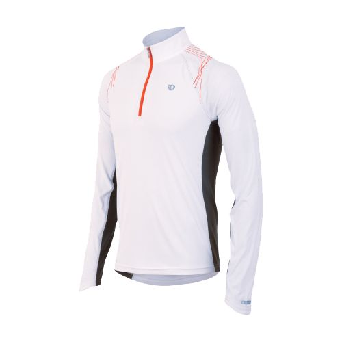 Mens Pearl Izumi Infinity In-R-Cool LS Long Sleeve 1/2 Zip Technical Tops - White/Cherry Tomato ...