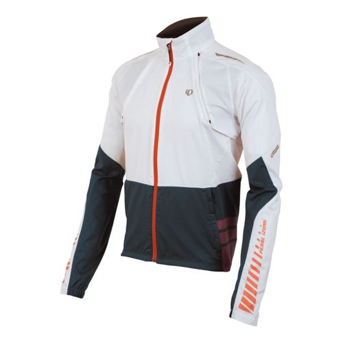 Mens Pearl Izumi Elite Barrier Convertible Outerwear Jackets - White/Shadow Grey S